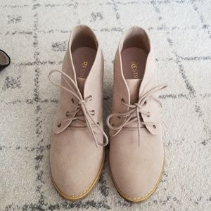 Brand New Taupe Faux Suede Bootie 7.5